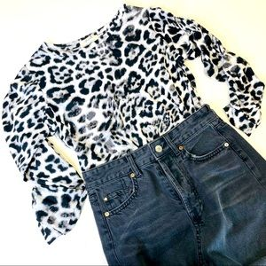Freebird Leopard Ruched 3/4 Sleeve Top Size Small